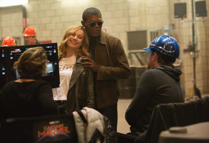 Samuel-l-jackson-and-brie-larson-on-the-set-of-captain-marvel-700x482